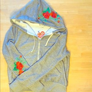Wildfox Embroidered Rose Hooded Full Zip Jacket